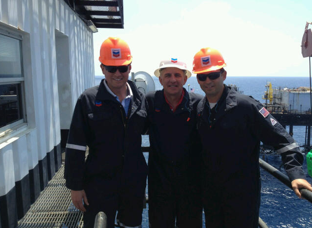 ISN CEO Joseph Eastin and president Brian Callahan visits offshore hiring client.