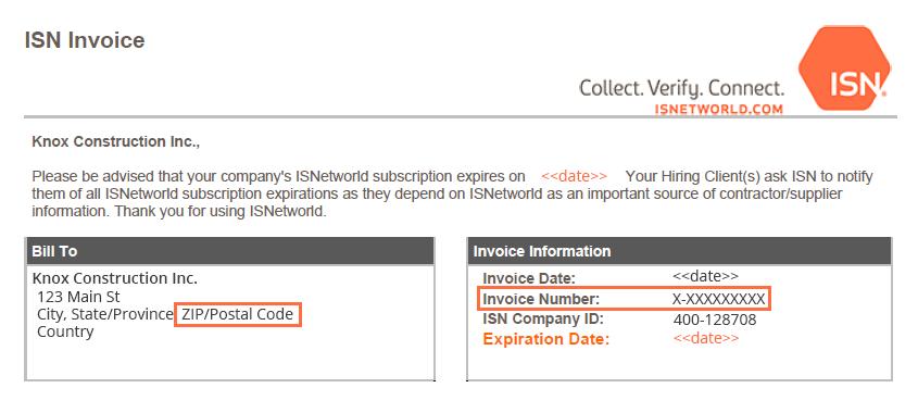 ISNetworld Online Payment ISN - Invoice zip code